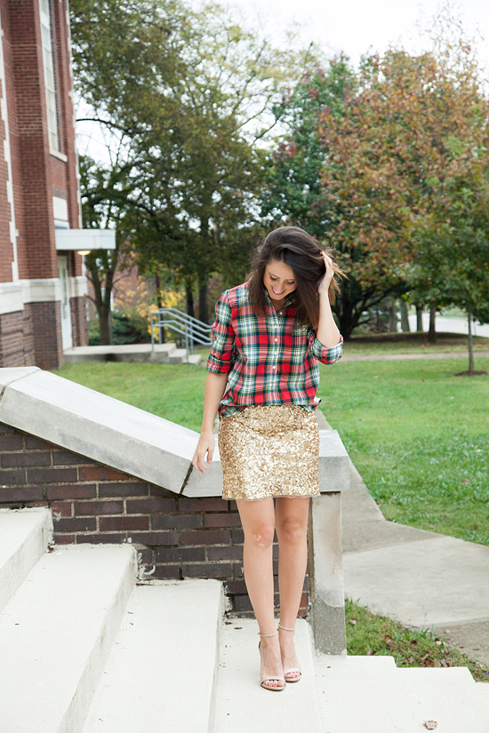 Here&Now: sequin skirt + plaid top
