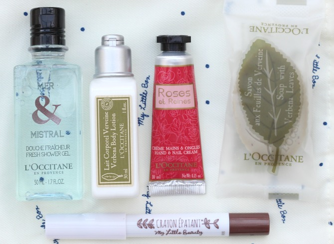 L'Occitane products inside the dust bag