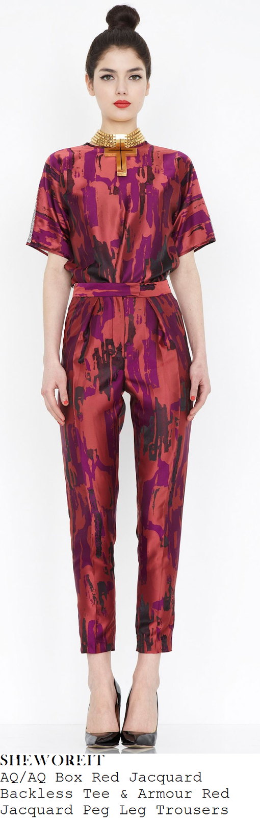 fearne-cotton-red-purple-and-black-paint-jacquard-short-sleeve-mesh-back-top-and-high-waisted-trousers