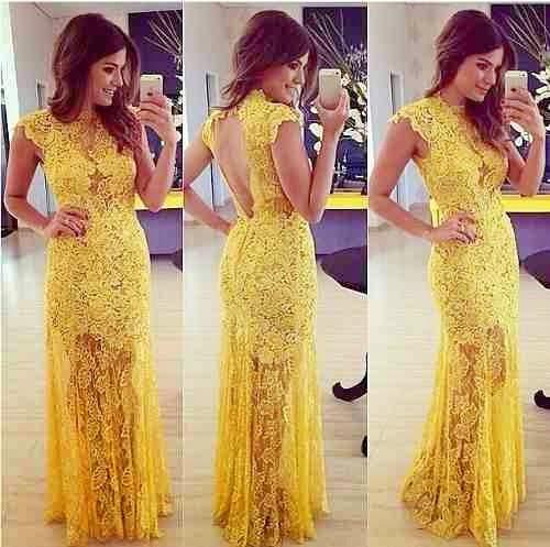 vestido longo de renda amarelo - fotos e modelos