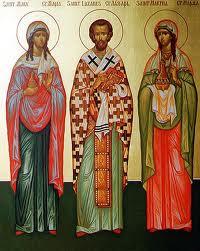 Icono de San Lazaro enmedio de sus hermanas Marta y Maria