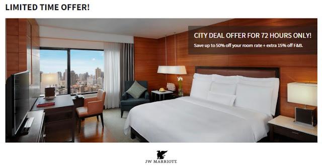 只得3日咋!曼谷 JW萬豪酒店 ( JW Marriott Bangkok ) 限時優惠「半價」起,8月前入住。