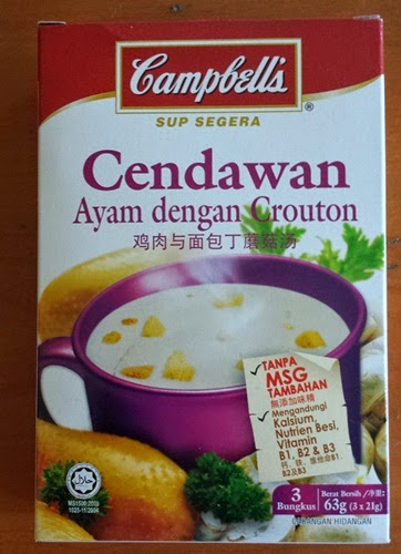 instant soup mushroom chicken with croutons Campbell's, sup segera perisa cendawan ayam dengan crouton jenama Campbell's harga: RM3.80