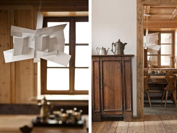 detalles del mobiliario de madera rustico -lampara de comedor blanca moderna