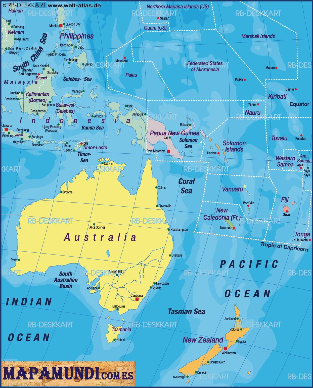 Mapa Mundi Oceania