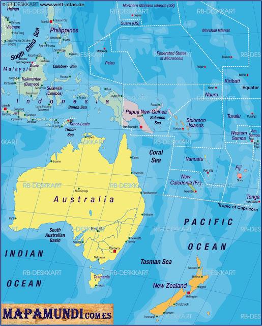 Mapamundi Mapa de Oceania politico