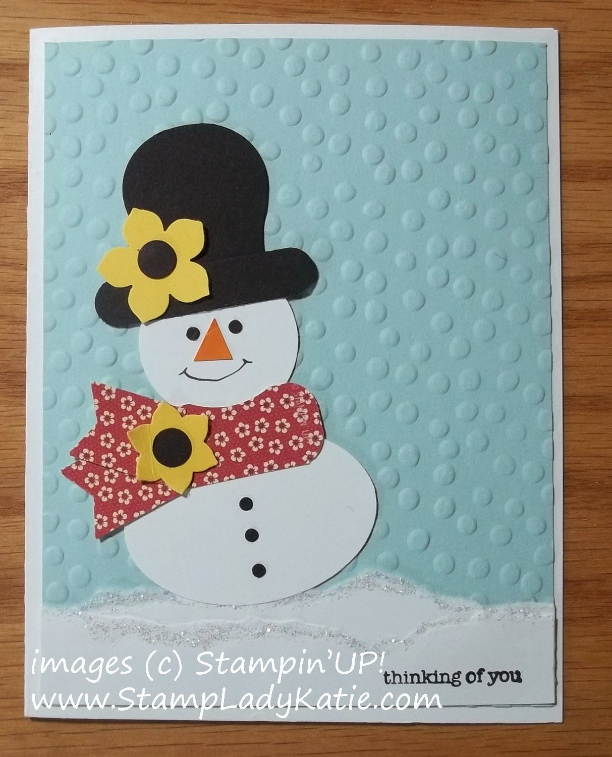 Stampin'UP!'s Petite Petite Petals Punch decorates a Punch Art Snowman Card