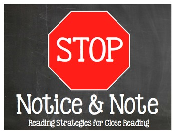 http://www.teacherspayteachers.com/Product/Stop-Note-Notice-Reading-Strategies-for-Close-Reading-Chalkboard-Bookmarks-862279