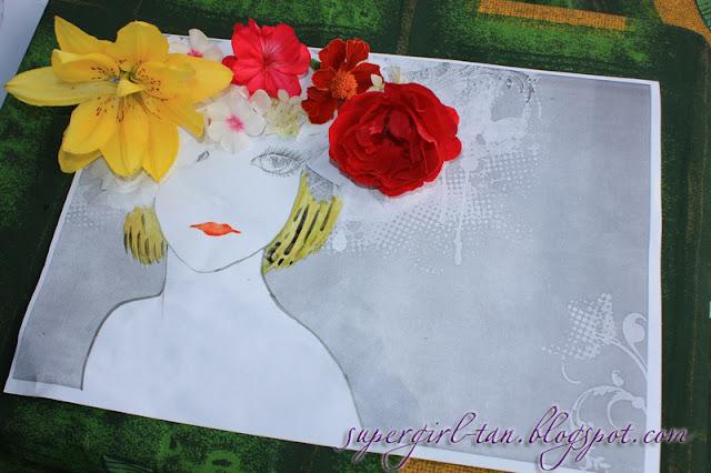 композиция на бумаге из цветов