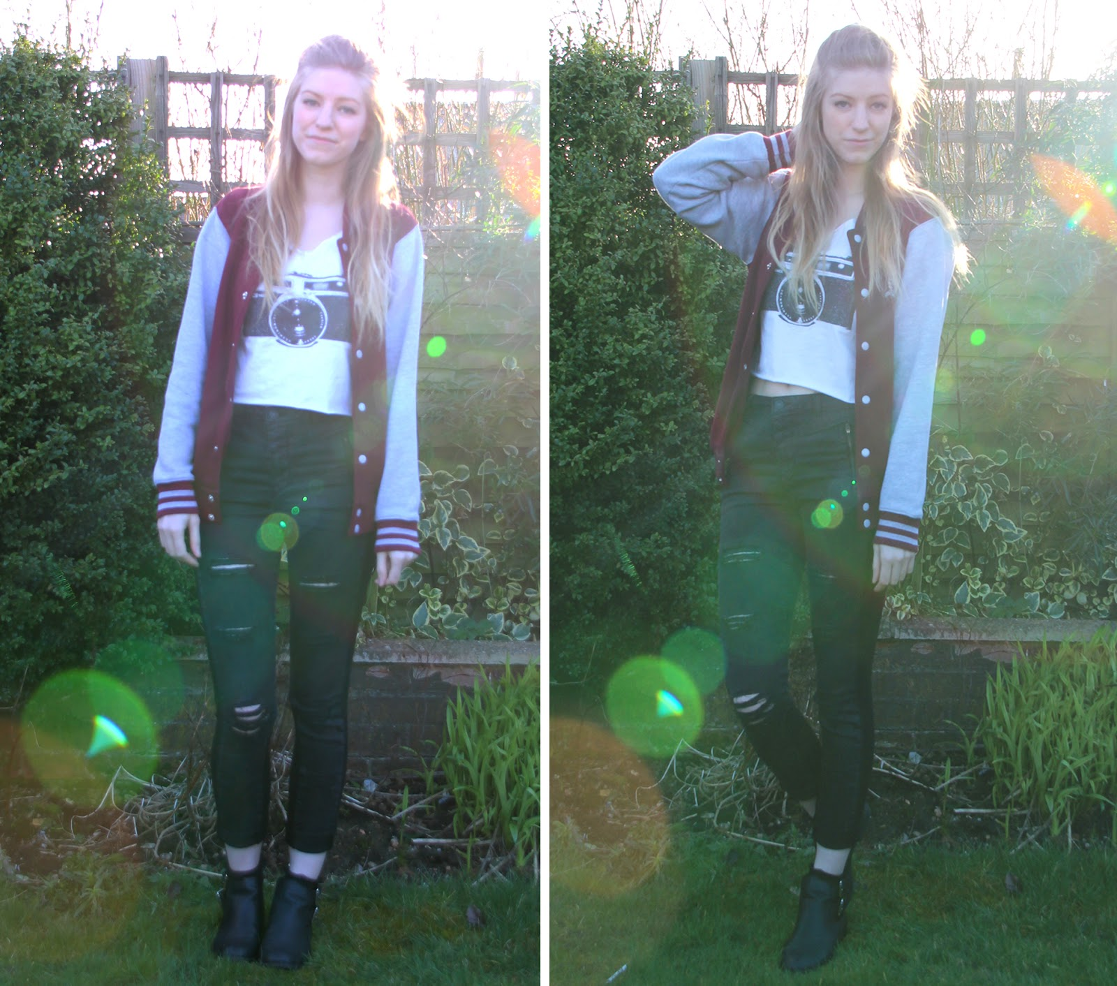 Camera and baseball jacket outfit of the day OOTD