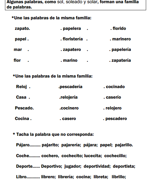 Familias De Palabras En Espanol