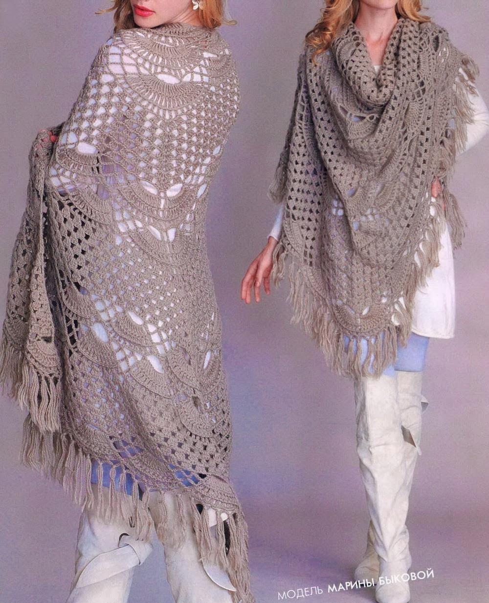 TRICO y CROCHET-madona-mía: Chal a crochet con patrón,