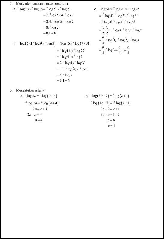 Soal Latihan Dan Pembahasan Logaritma Kelas X Rina