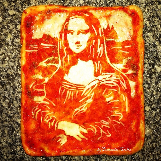 mona lisa, pizza