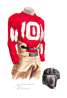1929 University of Oklahoma Sooners football uniform original art for sale