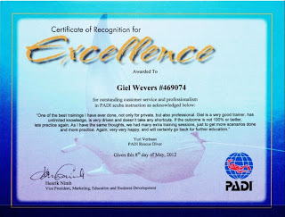 PADI Certificate of Excellence for Giele Wevers