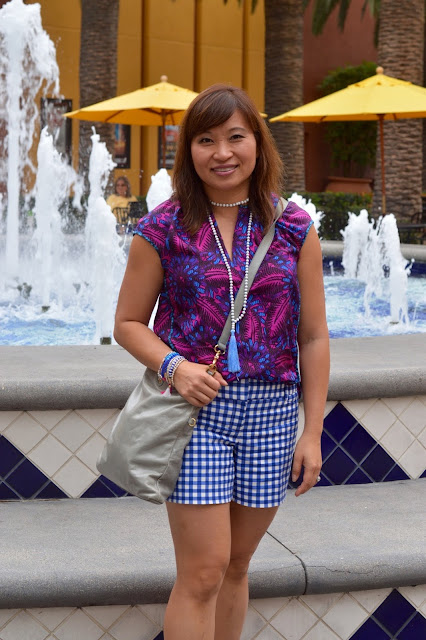J Crew Midnight Floral, The Limited Gingham Shorts, pattern mixing, OC Blogger, 40 plus fahsion