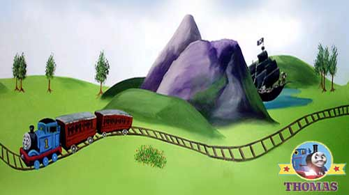 Vintage Stylist bedroom ideas dream house toddler playground room mural Thomas the Train and friends picture