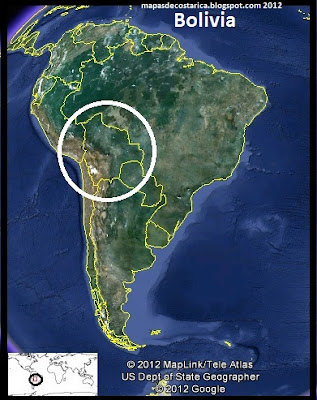 Mapa de Bolivia en Sudamérica, Google Earth