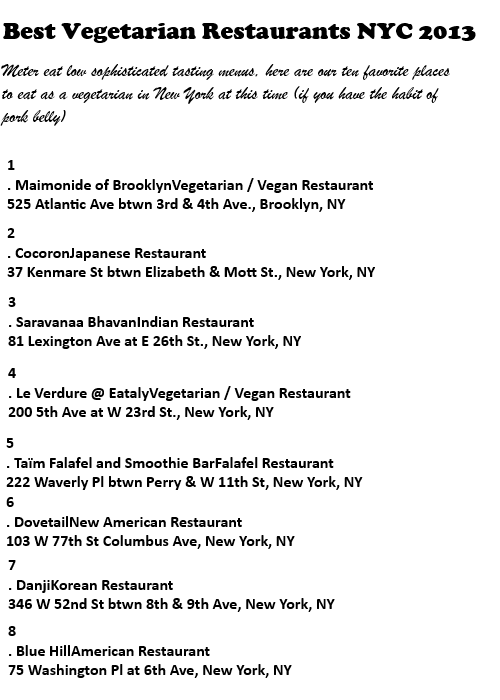 vegetarian restaurants nyc