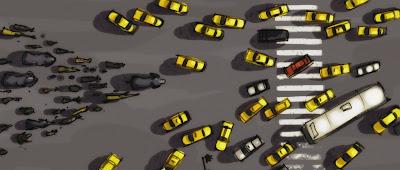Strom der Tiere in New Yorker Straßen, Yellow Cabs Taxi Taxen, Produktionsentwürfe für Die Konferenz der Tiere Animals United