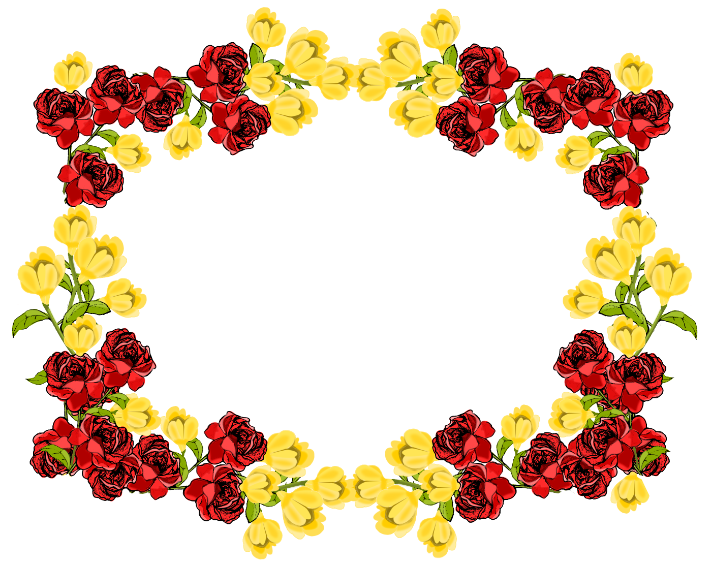 flower frame png with transparent background yellow red flower frame ...