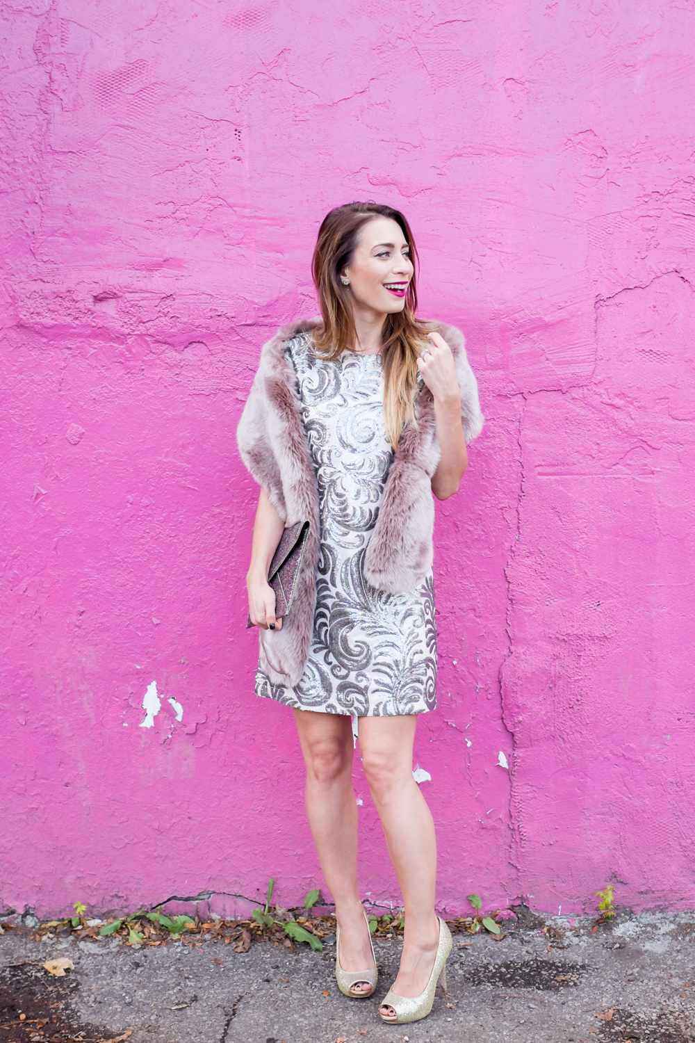glittery holiday outfit faux fur stole ebates canada