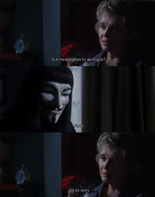 V for vendetta, forgiveness, apologize