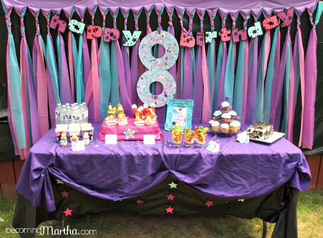 Shake it up birthday party becoming martha for Background decoration for birthday party