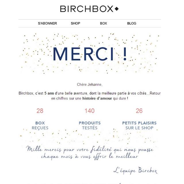 28 mois d'abonnement Birchbox Merci - Les Mousquetettes©