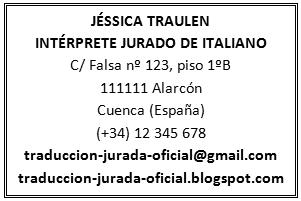 Ejemplo: sello oficial de traductor jurado