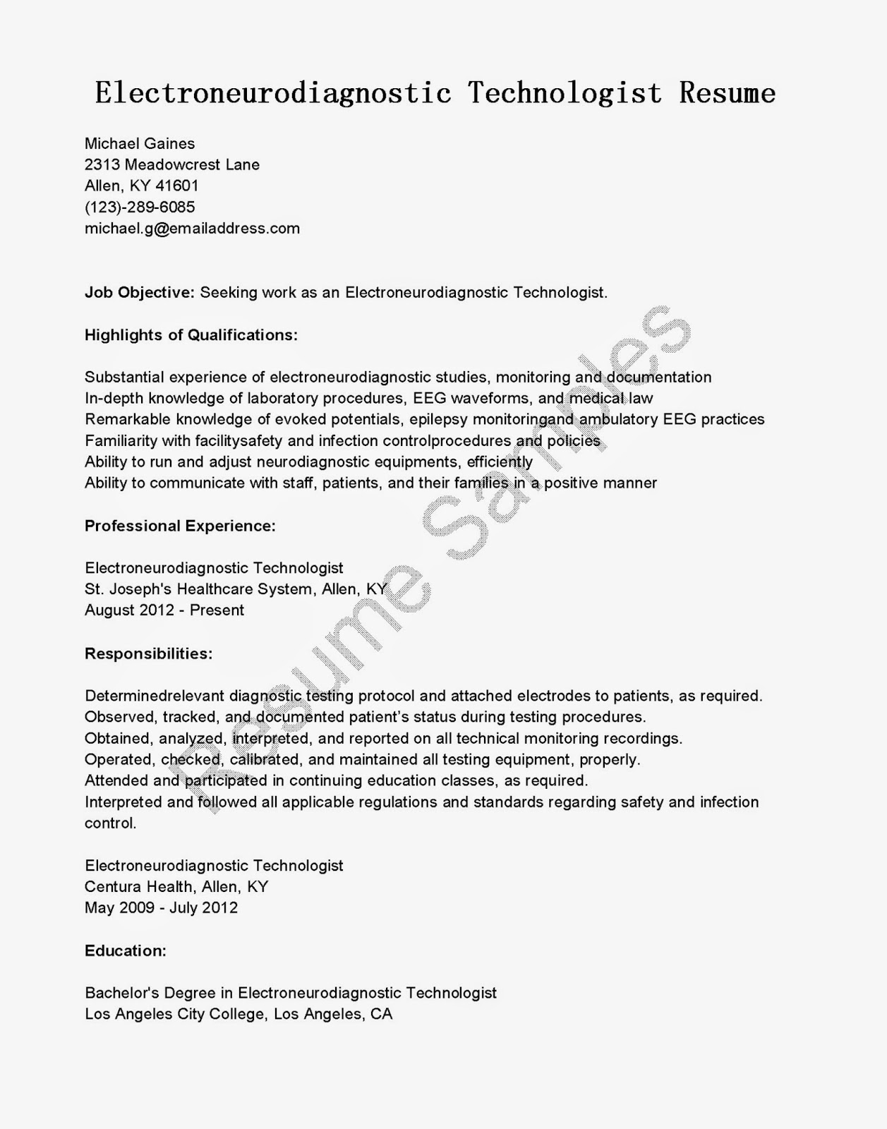 resume samples  electroneurodiagnostic technologist resume