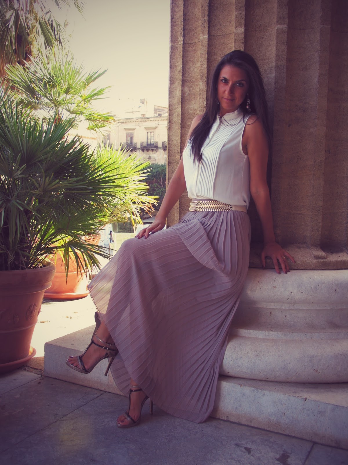 white, silk, shirt, fashion, look, sicilia, plissè, #fashionblogger