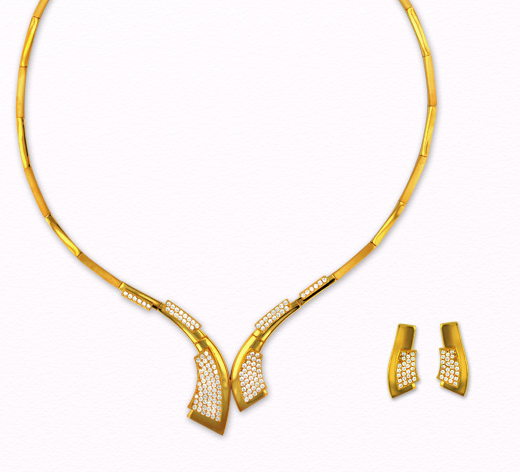 Designer Gold Floral Necklace from Anjali Jewellers