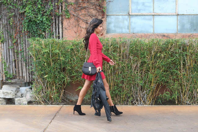 holiday reformation dress, how to wear black booties, leather jacket and dress outfit