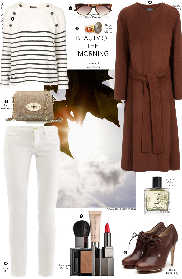 Another way to style white jeans with MiH Jeans, TopShop, Joseph, Liam Fahy, Mulberry, Miller Harris & Linda Farrow. Daily outfit inspiration via www.look-a-porter.com