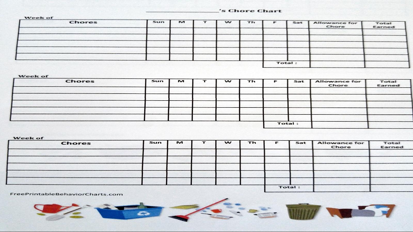 weekly chores chart