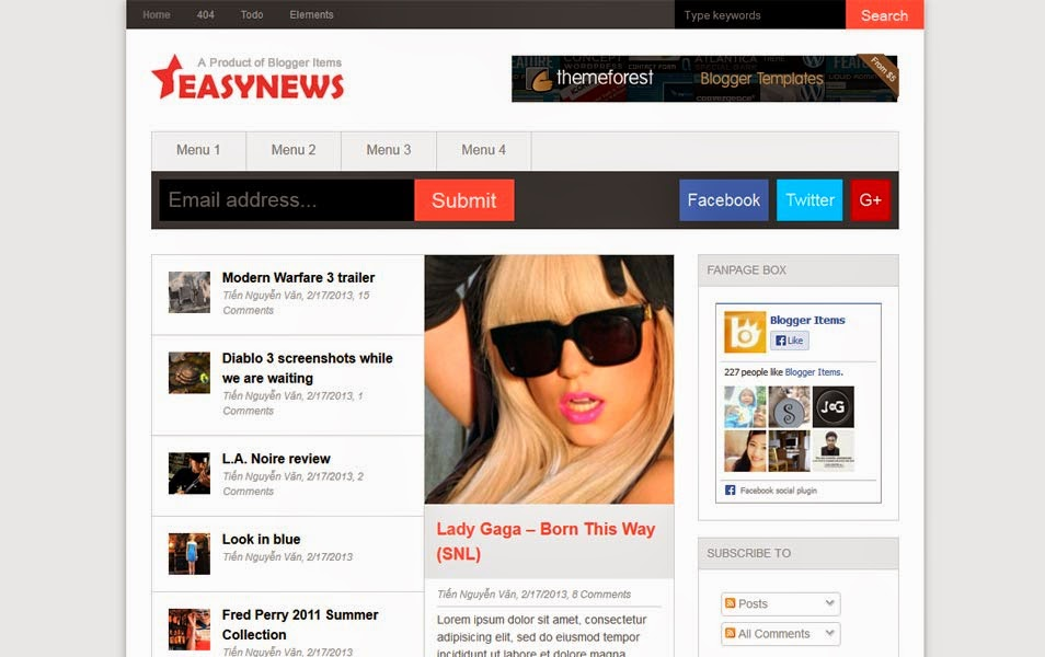 Easy News Responsive Magazine Blogger Template
