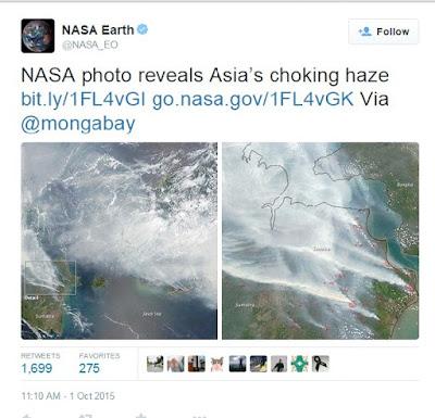 Foto NASA Menunjukkan Parahnya Kabut Asap di Indonesia