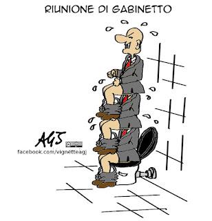 sottosegretari, riunione di gabinetto, governo, vignetta satira