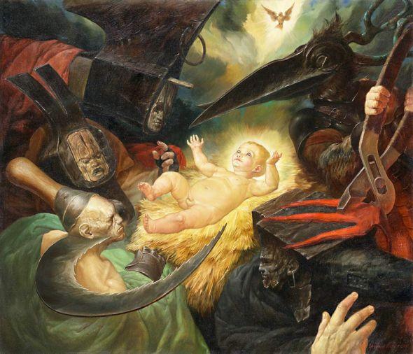 Viktor Safonkin pinturas surreais sombrias medievais mitológicas religião subconsciente O nome dos nomes