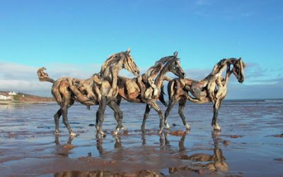 Horses made out of driftwood