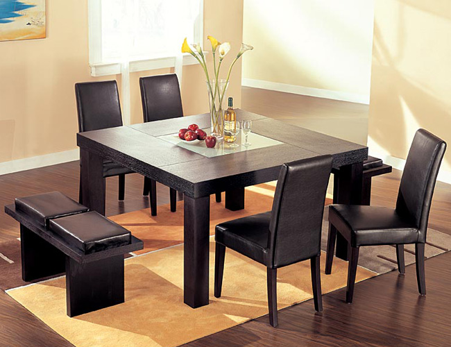 Square Dining Table Set with Bench