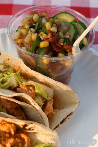 Shredded Chicken in Peanut Sauce Tacos w/ Corn & Zucchini Sauté