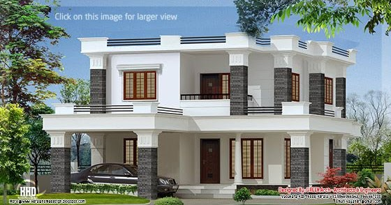 2172 kerala house with 3d view and plan - 2000 Sq Feet 4 Bedroom Flat Roof Villa Kerala House Design