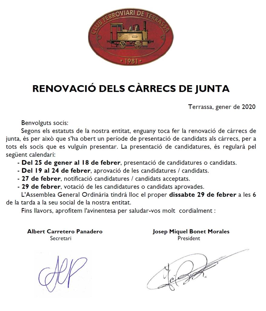 ***** Renovació de càrrecs de la Junta de Govern