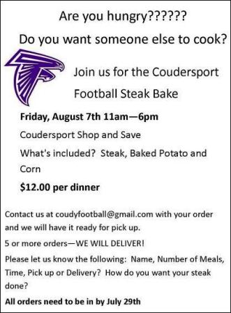 7-29/8-7  Steak Bake by Coudy Football