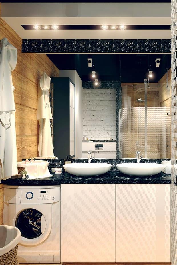 ตกแต่งห้องน้ำ ห้องน้ำสวย ผนังหลากรูปแบบ ทั้งไม้ ทั้งอิฐ