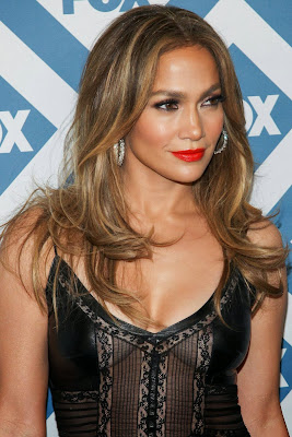 Jennifer Lopez looks sexy wear leather lace little black dress at Fox TCA Party