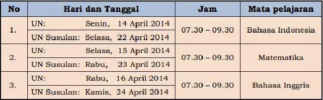 jadwal un smalb 2014